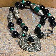 Stunning Artisan Handmade Natural Malachite,  Onyx and Sterling Silver Necklace with Chased He