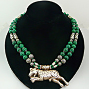 Stunning and Unusual Malachite and Sterling Silver Necklace with Sterling Silver Jaguar Pendan