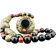 Dramatic Handmade Natural Onyx, Coral and Carved Brass Necklace With Dragon Pendant