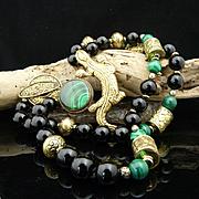 Handmade Exotic Artisan Bohemian Malachite, Onyx and Hand Carved Heavy Brass Gecko Necklace