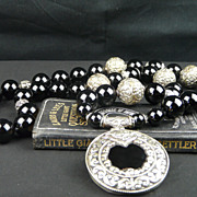 Powerful Onyx,  Sterling Silver and Mixed Metal Necklace