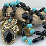 Artisan Natural Turquoise, Faceted Onyx, and Solid Brass Necklace with Peacock Pendant
