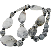 Artisan Handmade Natural Rutilated Quartz, .925 Sterling Silver, and Faceted Onyx Necklace