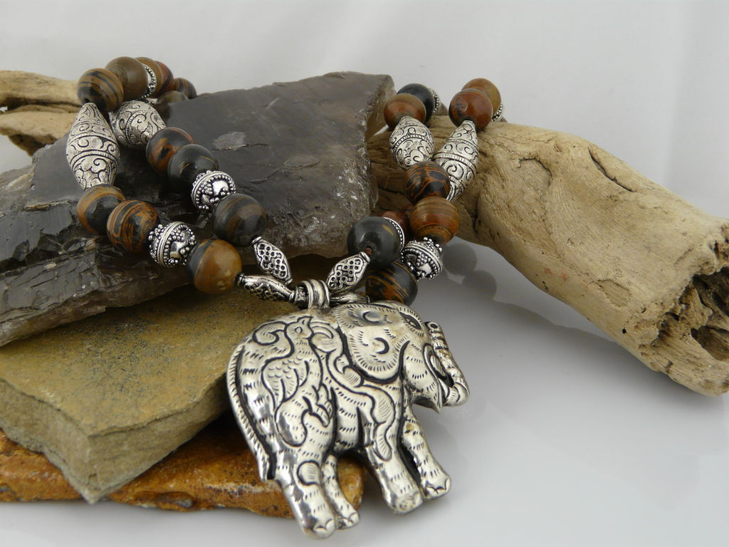 Artisan Handmade Natural Banded Jasper and Sterling Silver Necklace With Lucky Trunk Up Elephant Pendant