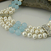 Artisan,Handmade, Elegant and Flowing-Triple Strand Aquamarine, Cultured Pearl and Sterling Si