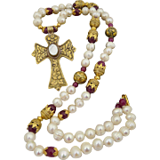 Artisan Handmade Runway Cultured Pearl, Faceted Ruby and Gold Cross Bohemian Necklace