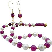 Handmade Faceted Natural Ruby, Chinese Cultured Pearls, and Gold Necklace Choker