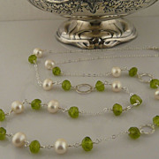 SOLD Handmade Beautiful and Serene Peridot Nugget, Pearl, and Sterling Silver Necklace