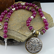 Rather Dainty Ruby,  Sterling Silver and Vermeil Necklace With Pendant