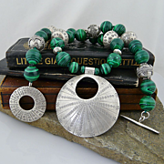 Handmade Artisan Natural Malachite, Sterling, and Fine Silver Necklace With Pendant