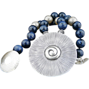 Artisan Fine Silver and Natural Dumortierite Necklace With Nautilus Pendant