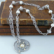 Stunning Sterling Silver Labyrinth Necklace with Pearls and White Topaz