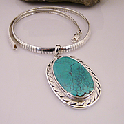 Artisan Handmade Large .925 Sterling Silver Natural Turquoise Pendant on a Heavy Sterling Silv