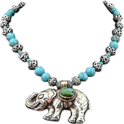 Handmade Artisan Bohemian Turquoise and Sterling Silver Elephant Pendant Necklace