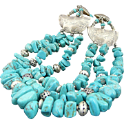 Artisan Handmade Natural Turquoise and Sterling Silver Bohemian Triple Strand Necklace