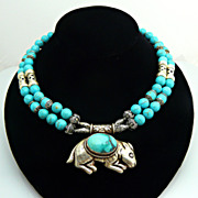 Endearing Turquoise and Sterling Silver Necklace with With Sterling Rabbit Pendant