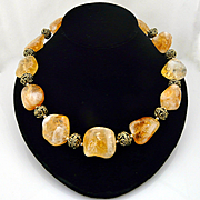 Artisan Handmade Natural Organic Citrine Nugget and Gold Accented Choker Necklace