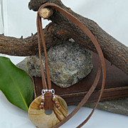 Handmade Leather, Jasper and Sterling Silver Necklace with Jasper Charms