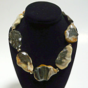 Large and Dramatic  Polished Jasper and 14K Gold-Filled Bead Choker