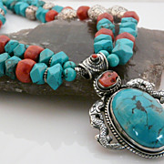 Dramatic, Double Strand, Turquoise, Sterling Silver and Coral Necklace with Pendant