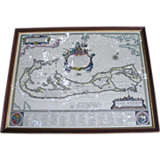 SALE Framed Map of Bermuda Neptune Image Beautiful Graphics Latin Writing