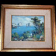 SALE Impressionist Italian Seascape Oil Painting Artist Signed
