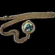 SALE Love Birds Parakeets Painted Porcelain Pendant Watch by Kelbert 17 Jewels Gold Plated