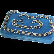 SALE Gorgeous Mexican Sterling & Brass Modernist Link Necklace & Bracelet Set