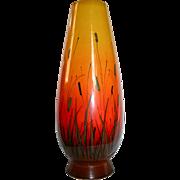SALE Eames Era Raymor Large Yellow to Orange Cattaiils Scenic Vase Mid Century Mod