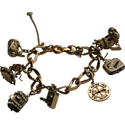 SALE Vintage Monet Whimsical Charms Bracelet Poodle King Spinning Wheel & More