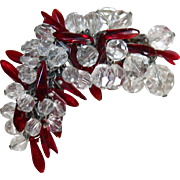 SALE Fabulous Glass Cha Cha Brooch Red & Clear Spears
