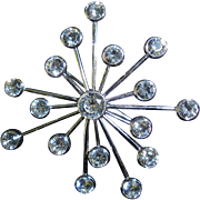 SALE Stunning Swaroski Sputnik Swan Signed Rhodium Plated Brooch