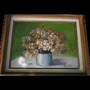 SALE Mid Century Still Life Oil Painting on Canvas