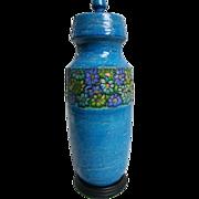 SALE Aldo Londi 1960s Flower Power Blue Ceramic Lamp