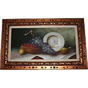 SALE Classical Fruit Still Life Oil Painting on Canvas Signed Simon