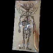 "SALE Halloween Surrealist Decoupage Signed Glass Tray ""Anatomy"" by NYC Artist Carol"