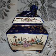 SALE Antique Signed Japanese Foo Dog Finial Covered Scenic Cobalt Porcelain Box