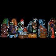 SALE Kutani Set 6 Inch Moriage Gilt Satsuma Figurines Set of 6