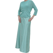 SALE Couture Sz L  Mint Green  Ball Gown Skirt Beaded Sweater 3 Pc Ensemble Carmen Marc Valvo