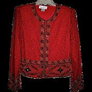SALE Bejeweled Red Bolero Jacket BY Laurence Kazar Paris New York Sz L