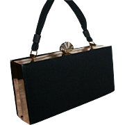 SALE Evans Elegance Box Purse Evening Handbag Shell Clasp