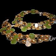 SALE Baroque Freshwater Cultured Pearl MOP Glass Sterling Double Strand Necklace & Bracelet Se
