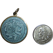 SALE Large Charles Thomae St Christopher Blue Guilloche Sterling Fob Pendant