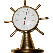 SALE Hoffritz NY French Nautical Thermometer Ship's Wheel Miniature Brass Instrument