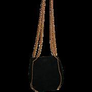SALE Gorgeous De Vecchi Hamilton Hodge Exquisite Vintage Black Soft Suede Gold Ball Long Chain