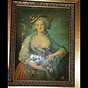 """SALE PENDING Classical Enamel """"Polysmart"""" Framed Plaque after E. Vigee-Lebrun"""