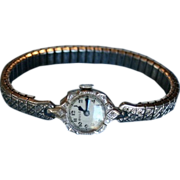 SALE 14K Ladies Bulova Art Deco White Gold and Diamonds Watch