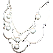 SALE Taxco Heavy 30 Grams 925 Sterling Festoon Bib Necklace Modernist Mid 20th Century