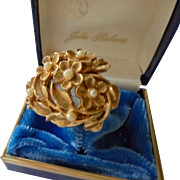 SALE Swiss Gorgeous Flip Top Watch Ring Floral Design with Faux Pearls