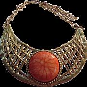 SALE Egyptian Revival Cleopatra Choker Collar Bib Necklace